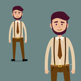 Young Male Bearded Cartoon Character Illustration. Young cartoon character with beard in brown tie and trousers with suspenders isolated on dark blue background Stock Images
