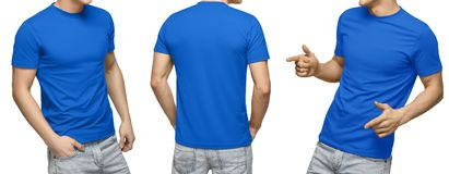 Young male in blank blue t-shirt, front and back view, isolated white background. Design men tshirt template and mockup for print. Young male in blank blue t royalty free stock photo