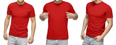 Young male in blank red t-shirt, front and back view, isolated white background. Design men tshirt template and mockup for print stock photography