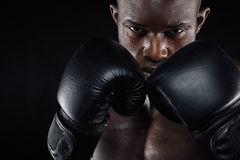 Young male boxer in a fighting stance Royalty Free Stock Photo