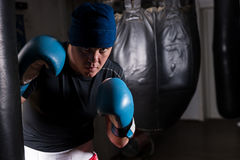 Young male boxer with stern look in a hat and boxing gloves trai. Ning with boxing punching bag in a gym Royalty Free Stock Image