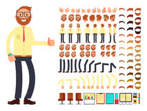 Young male businessman character with gestures set for animation. Vector creation constructor stock illustration
