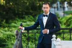 Young male businessman in a classic black suit with a white shirt and a bow tie. Portrait of the groom waiting for the. Bride on a wedding day in the park Royalty Free Stock Photo