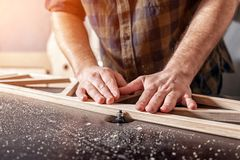 A young male carpenter builder royalty free stock photo