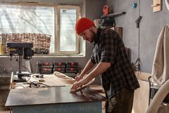 A young male carpenter builder royalty free stock photos