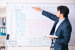 The young male chemistry teacher in front of periodic table. Young male chemistry teacher in front of periodic table royalty free stock images