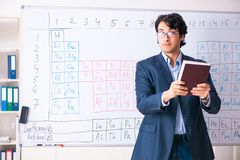 The young male chemistry teacher in front of periodic table. Young male chemistry teacher in front of periodic table stock images