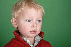 Young male child portrait on green screen Stock Image