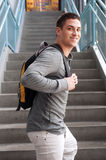 Young male college student with backpack Stock Photography