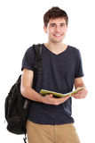 Young male college student with books Stock Photos