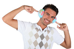 Young male consultant using globe Stock Images