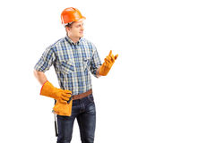 Young male contractor with construction helmet Royalty Free Stock Images