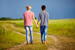 Young male couple walking away on summer field path Royalty Free Stock Photography
