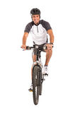 Young Male Cyclist On Bicycle. Portrait Of Young Male Cyclist On Bicycle Isolated Over White Background Royalty Free Stock Photography