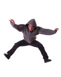 Young male dancer makes a jump Royalty Free Stock Image