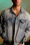 Young male in denim jacket Stock Image