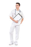 Young male doctor with a clipboard Stock Image