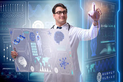 The young male doctor in futuristic medical concept Stock Photos