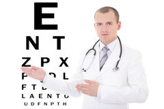 Young male doctor ophthalmologist and eye test chart isolated on. White background stock photography