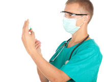 Young male doctor preparing injection Stock Image