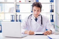 The young male doctor in telehealth concept. Young male doctor in telehealth concept Stock Images