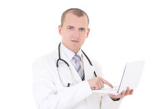Young male doctor using laptop isolated on white Stock Images