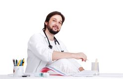 Young male doctor in white Royalty Free Stock Images