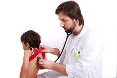 Young male doctor in white Stock Images