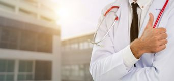 Young male doctor working at the hospital. Medical healthcare and doctor staff service royalty free stock photos