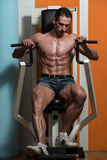 Young Male Doing Chest Exercises In The Gym Stock Image
