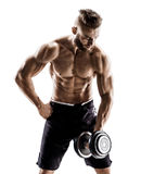 Young male doing exercises with dumbbells at biceps. Stock Photos
