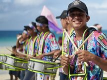 Young male drummers joining the Ati-atihan festival on Boracay Island