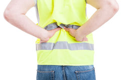 Young male engineer suffering from back pain Royalty Free Stock Photography