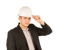 Young Male Engineer in White Helmet Stock Photos