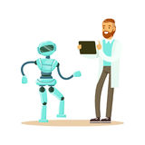Young male engineer in white smock programming humanoid bipedal robot at his tablet, future technology concept vector. Illustration on a white background Stock Photo