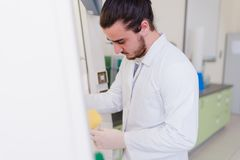 Young male engineering student doing an experiment in genetics l. Aboratory by himself in laboratory Royalty Free Stock Photo