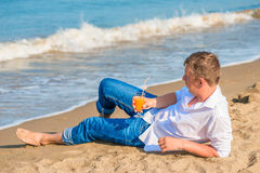 Young male enjoy your vacation on the island Royalty Free Stock Image