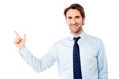 Young male executive pointing away Royalty Free Stock Images