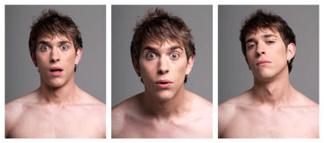 Young male expressions from surprise Royalty Free Stock Photos