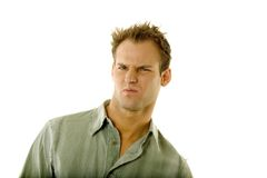 Young male with facial expression Royalty Free Stock Photos