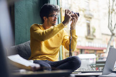 Young male fashion blogger and profesional photographer Stock Photography