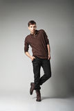 Young male fashion model posing in casual outfit Stock Photography