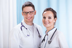 Young male and femal doctors Stock Images