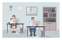 Young male and female police officers sitting at desks and investigating crimes. Policemen or cops working at computers. At criminal investigation office. Flat Royalty Free Stock Photography