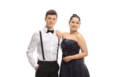 Young male and female at a prom night royalty free stock photography