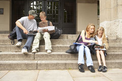 Young male and female students studying on the steps. Royalty Free Stock Photos
