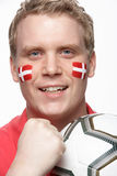 Young Male Football Fan With Danish Flag Painted O Royalty Free Stock Image