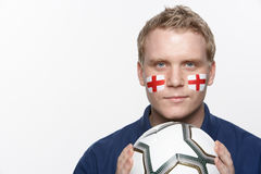 Young Male Football Fan With St Georges Flag Stock Images