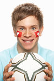 Young Male Football Fan With Swiss Flag Painted On Stock Photo