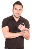 Young male handsome referee wearing black uniform Royalty Free Stock Images